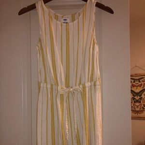 Old Navy yellow striped linen blend dress